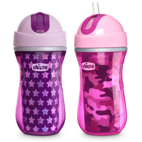 Insulated Flip-Top Straw Cup 9oz 12m+ (2pk) in Pink/Purple in