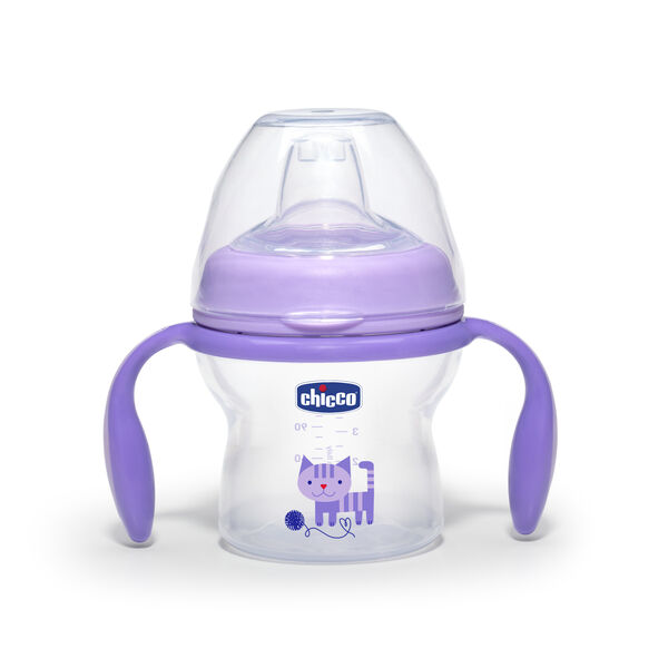 Chicco NaturalFit 5 ounce Transition Cup - Purple with Kitten Graphic