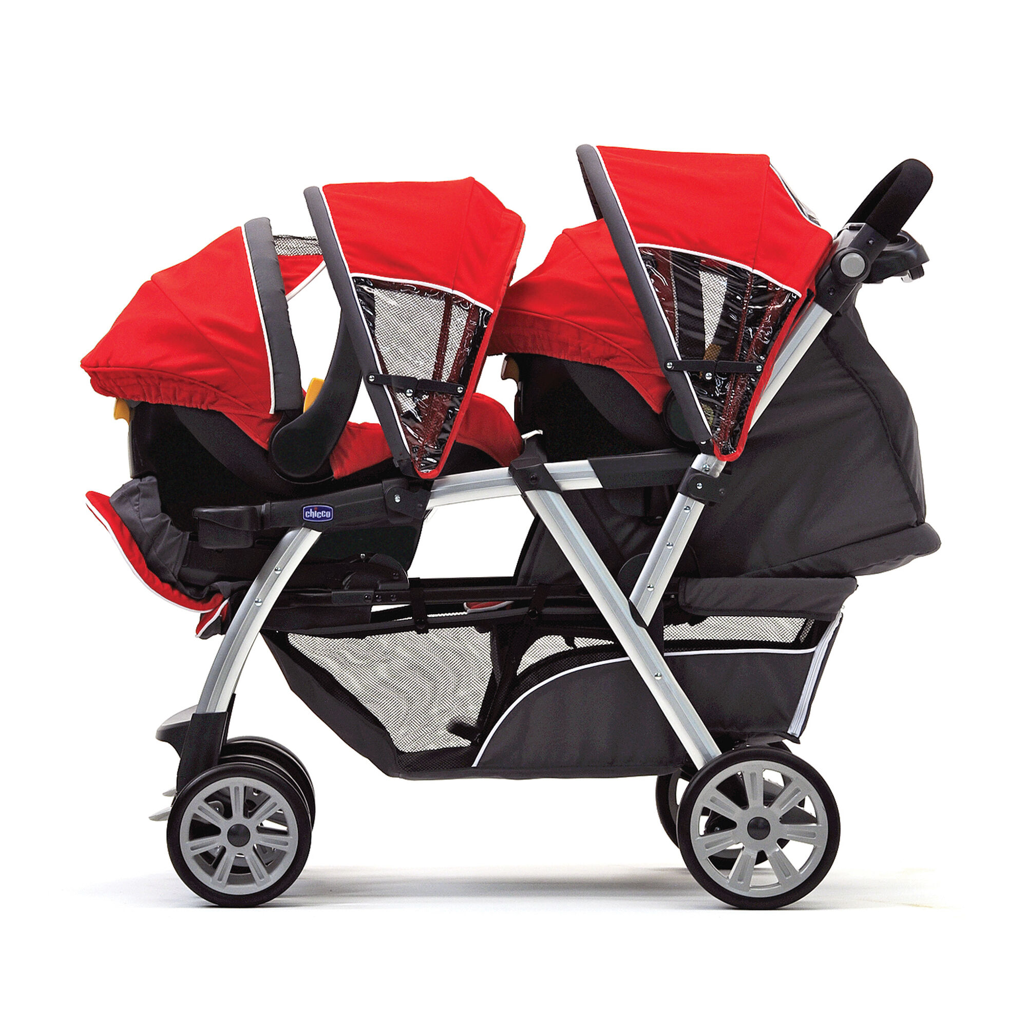 The Cortina To her double stroller accepts two KeyFit 30 Infant Car Seats to make traveling with