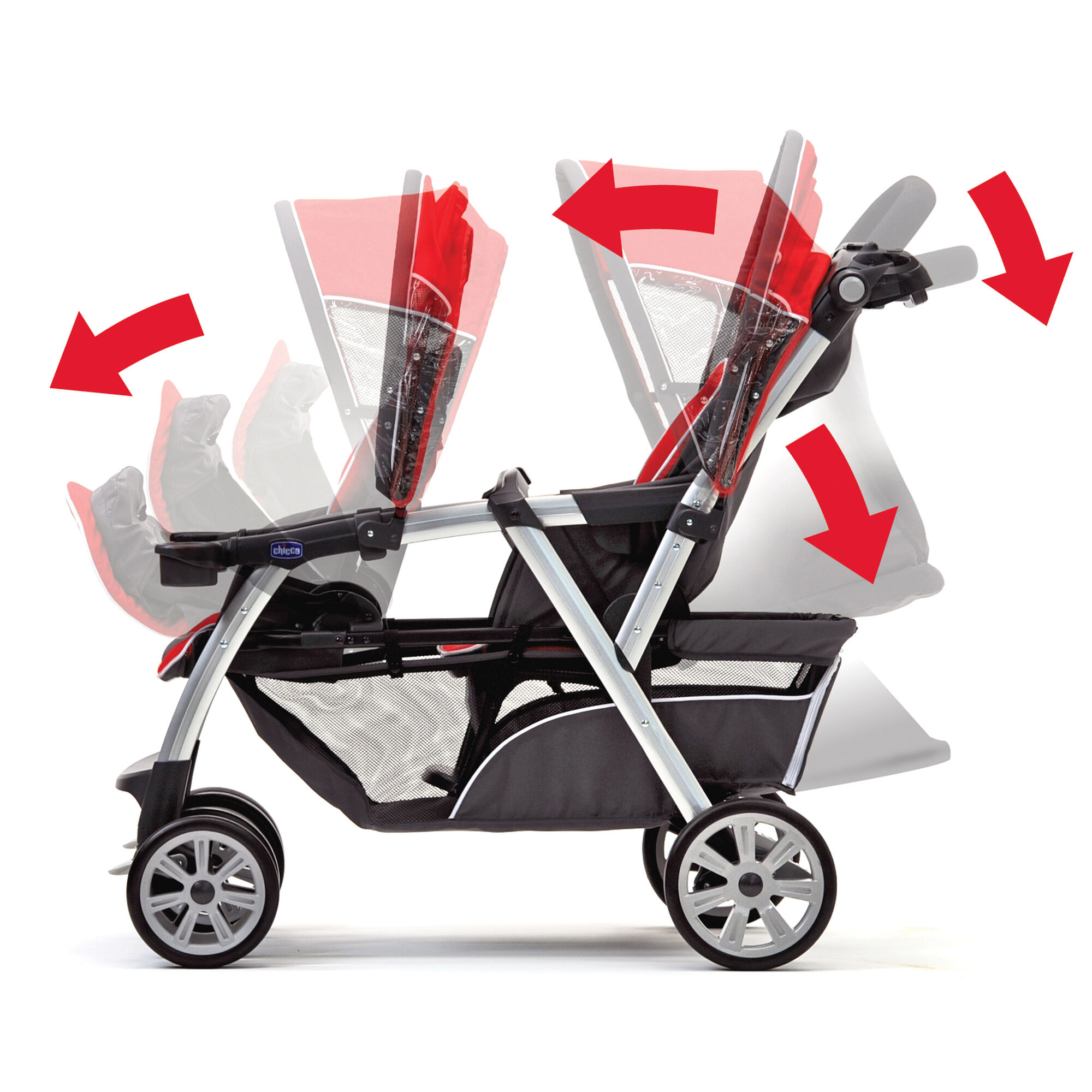 Chicco Double Stroller has independently adjustable removable canopies and the back seat fully reclines