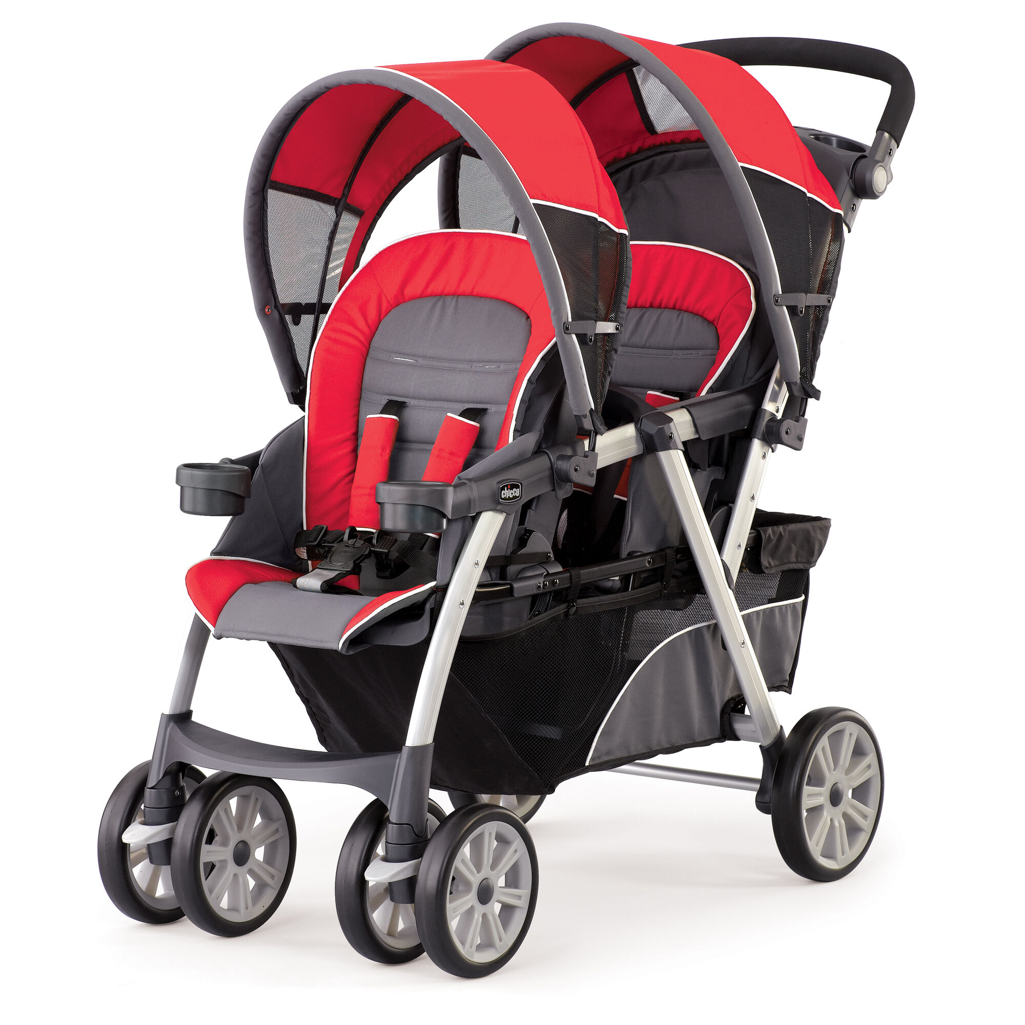 Chicco Cortina To her Double Stroller in gray and bright red Fuego Style