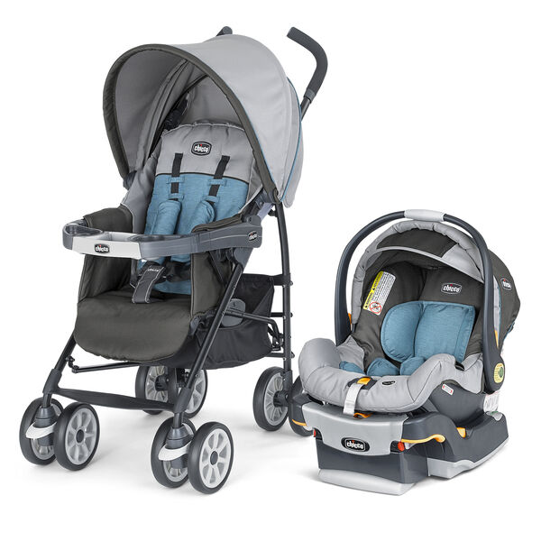 Chicco Neuvo Travel System Vapor - dark and light gray with light blue accents
