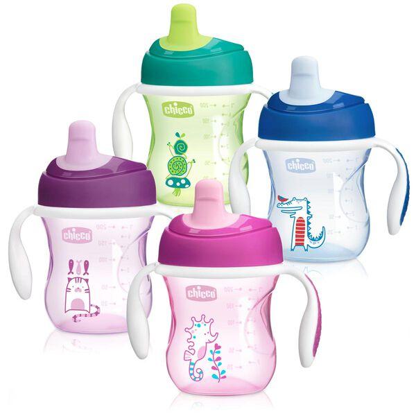 NaturalFit Semi-soft Spout Trainer Cup 7oz 6m+ (2pk) - Pink/Purple in