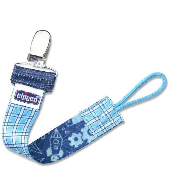 NaturalFit Fashion Pacifier Clip - Cyan Gingham in