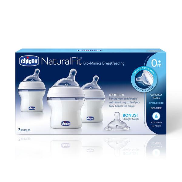 NaturalFit Tri-pack Bottles 0M+ Slow Flow w/ Bonus Straight Nipple in