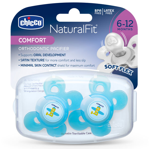 NaturalFit Comfort Shield 6-12M Set of 2 Pacifiers - Blue in