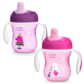 Semi-soft Spout Trainer Cup 7oz 6m+ (2pk) in Pink/Purple in