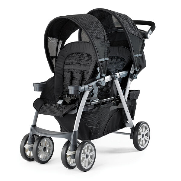 Chicco Cortina Together Double Stroller in a black and gray geometric patterned fabric style called Ombra