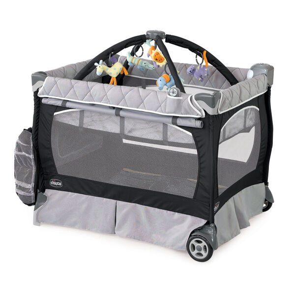 Chicco Lullaby LX Playard in black and gray style called Romantic