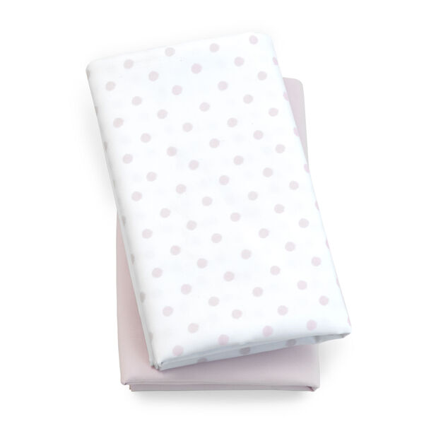 Lullaby Playard Fitted Sheet, 2-Pack- Pink Dot in Pink Dot
