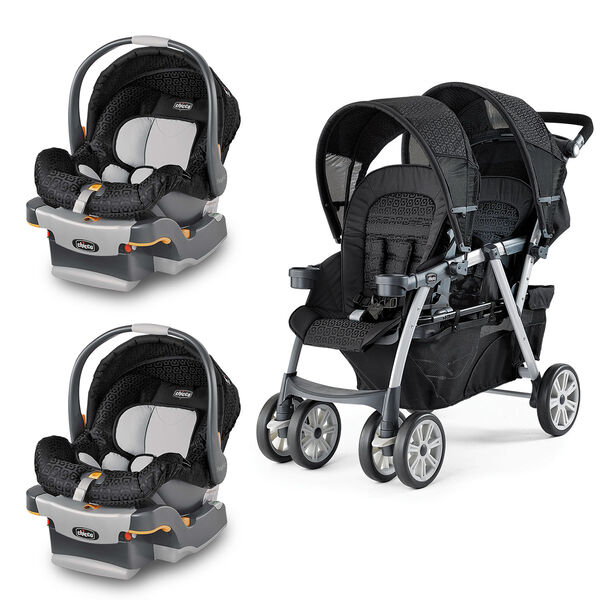 Chicco Cortina Together Double Stroller with two KeyFit 30 Infant Car Seats in black fabric with geometric pattern - Ombra style