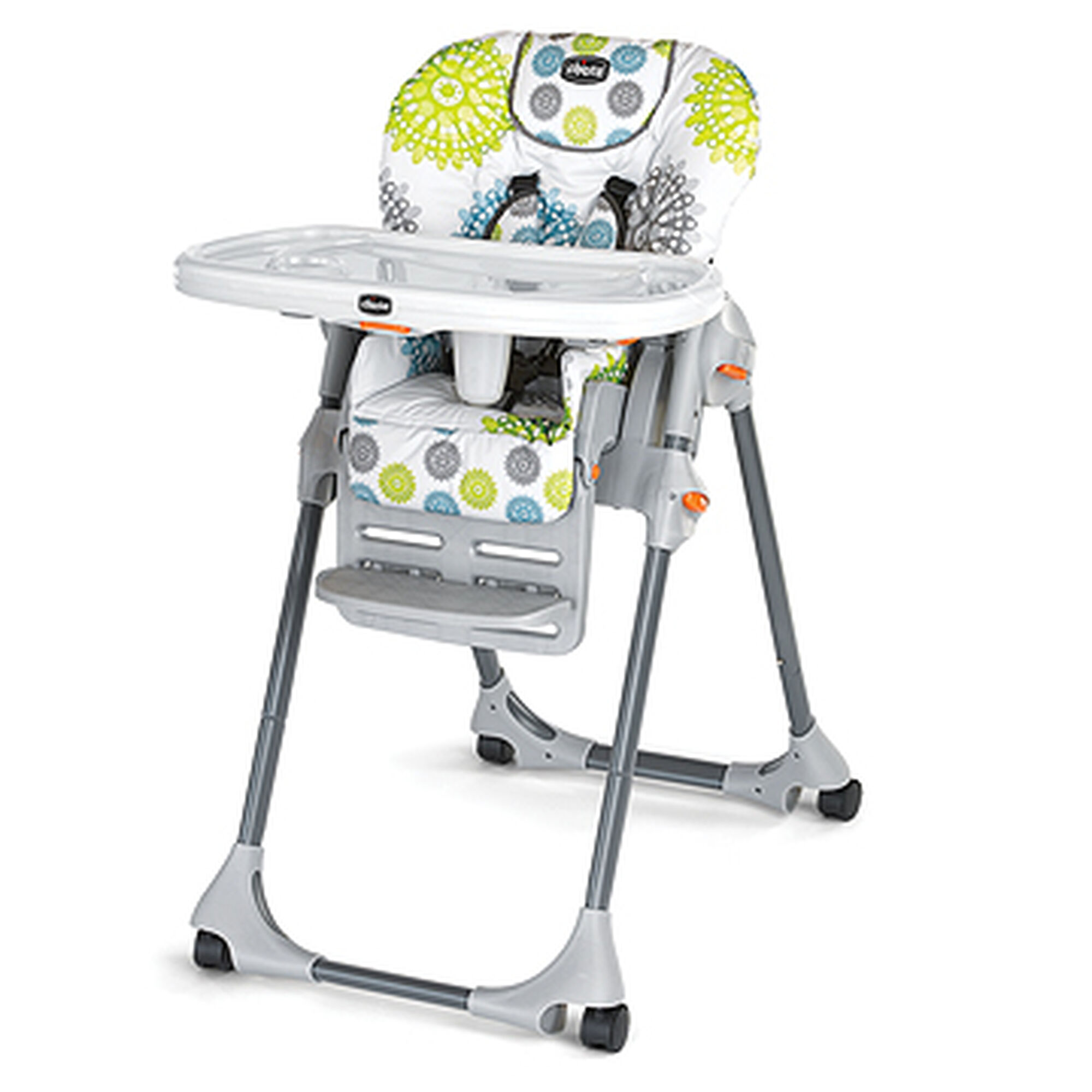 Chicco Polly Se Highchair In A Bright Citrus Green Aqua And Gray Patterned Fabric
