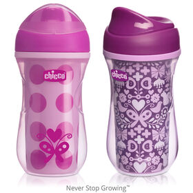 NaturalFit Insulated Rim Spout Trainer Cup 9oz 12m+ (2pk) - Pink/Purple in