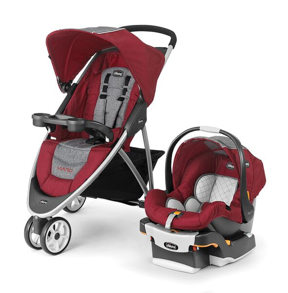 Viaro Quick-Fold Travel System - Cranberry in Cranberry
