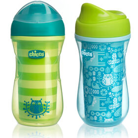 NaturalFit Insulated Rim Spout Trainer Cup 9oz 12m+ (2pk) - Green/Teal in