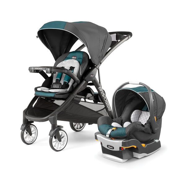 Chicco BravoFor2 Double Stroller and KeyFit 30 Infant Car Seat - Eucalyptus