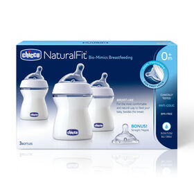 NaturalFit Tri-pack Bottles 8 oz. 0M+ Slow Flow w/ Bonus Straight Nipple in