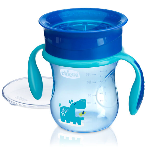 360° Rim Trainer Cup w/ Handles 7oz 6m+ in Blue in