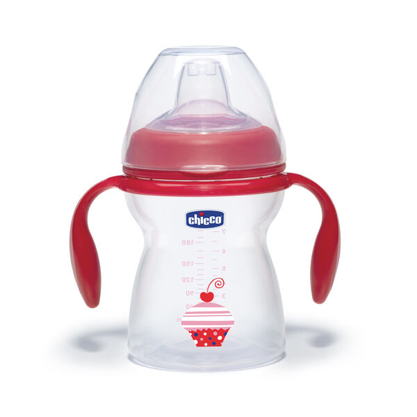 Chicco NaturalFit 8oz Transition Cup - Red with Cupcake Decal
