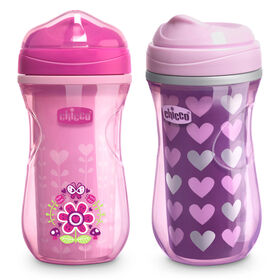 Insulated Rim Trainer Cup 9oz 12m+ (2pk) in Pink/Purple in