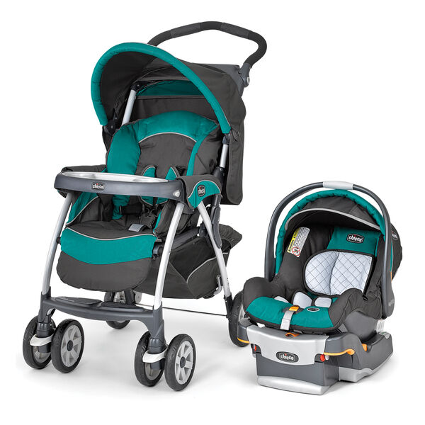 Chicco Cortina SE Travel System in a dark gray and aqua style called Atlantic
