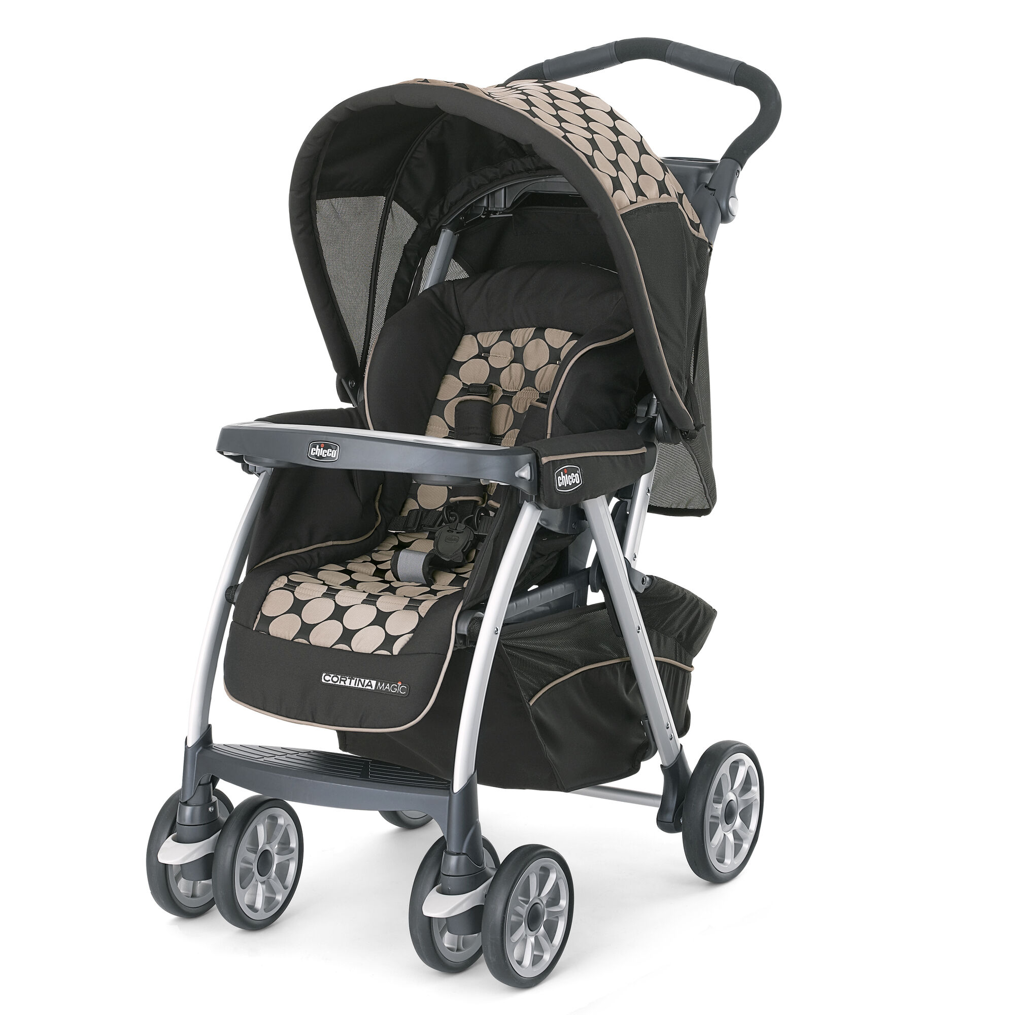 Chicco Cortina Magic Stroller in Black with large tan circle pattern Solare style