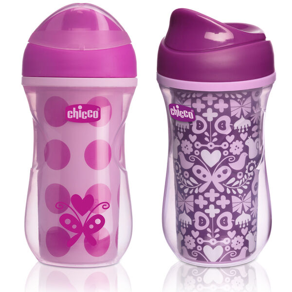 NaturalFit Insulated Rim Spout Trainer 9oz 12m+ (2pk) - Pink/Purple in