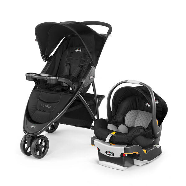 Viaro Quick-Fold Travel System - Black in Black