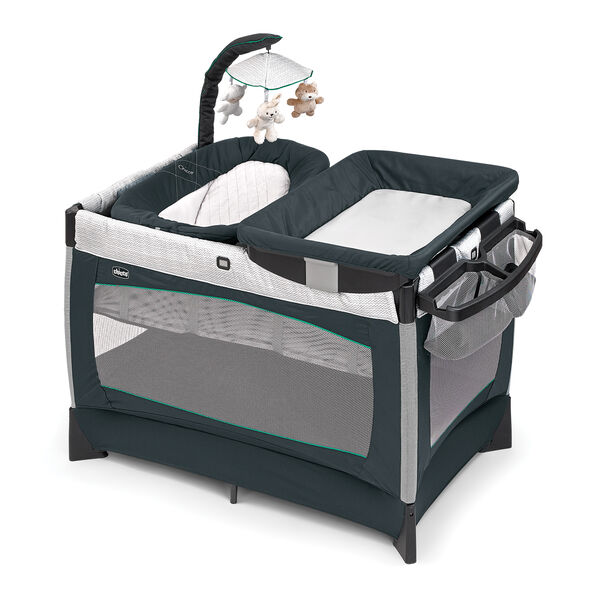 Chicco Lullaby Baby Playard in navy blue with green trim - Empire fashion