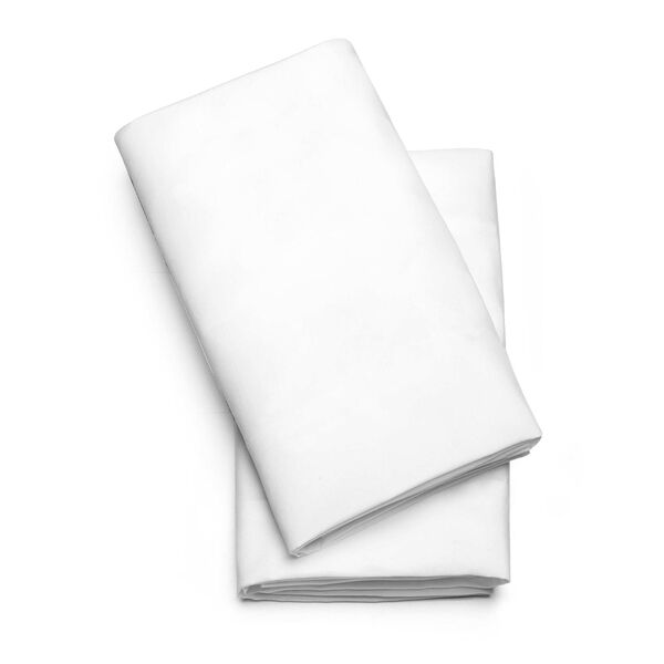 LullaGo Bassinet Sheets, 2-Pack - White in White