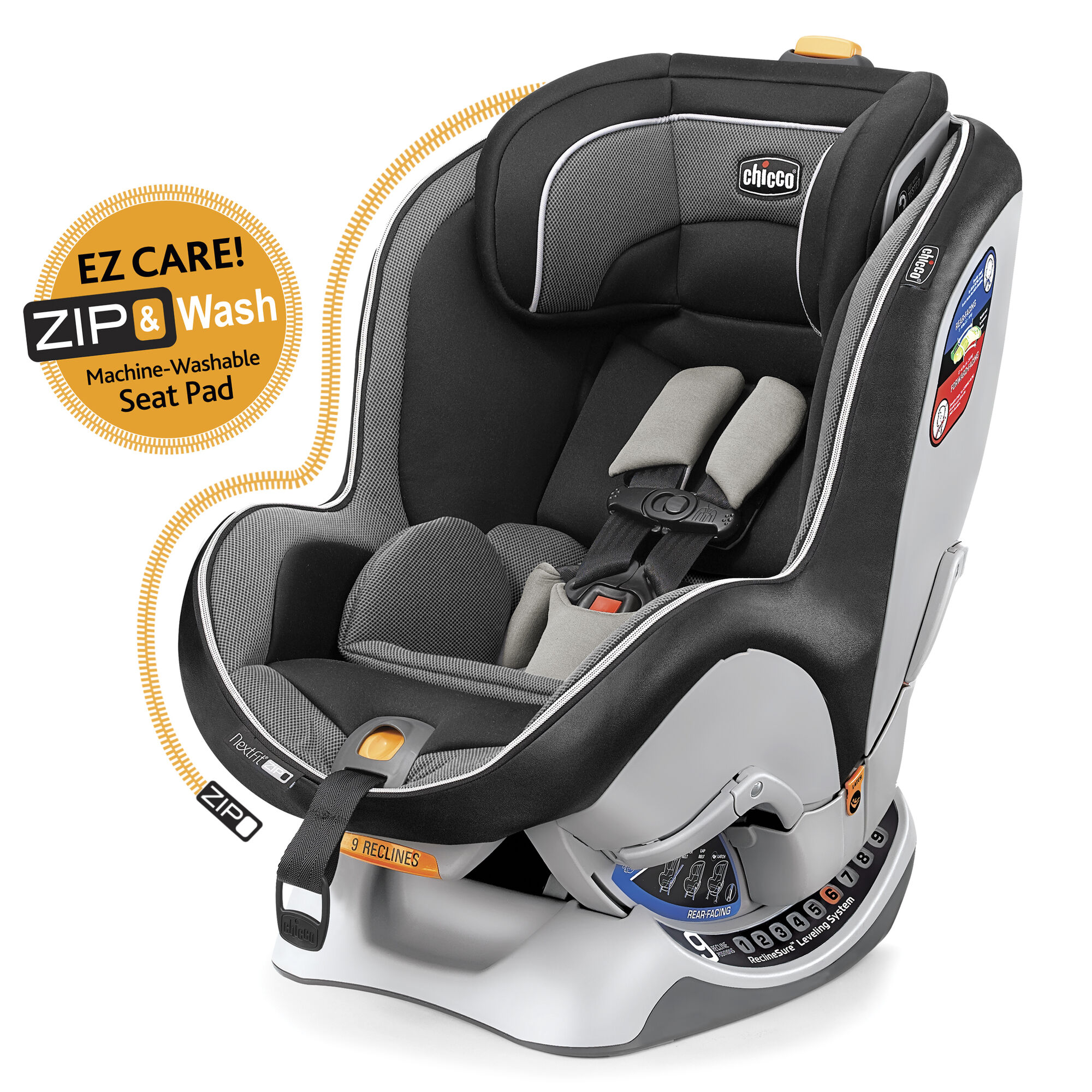 Chicco Nextfit Zip Convertible Car Seat In Dark Black Gray With Light Grey Mesh