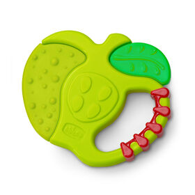 Chicco NaturalFit 4M+ Fruity Tooty Apple Teether with bright colors and varied textures that babies will love