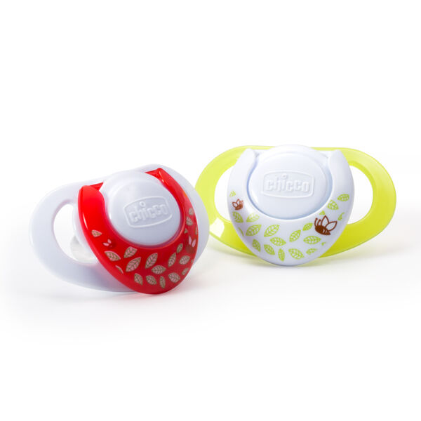 Holes in the NaturalFit Deco 0M+ Orthodontic Pacifier's shield allow for air flow and ventilation