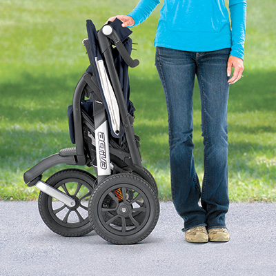Quick-release free standing fold on Activ3 jogger strollers