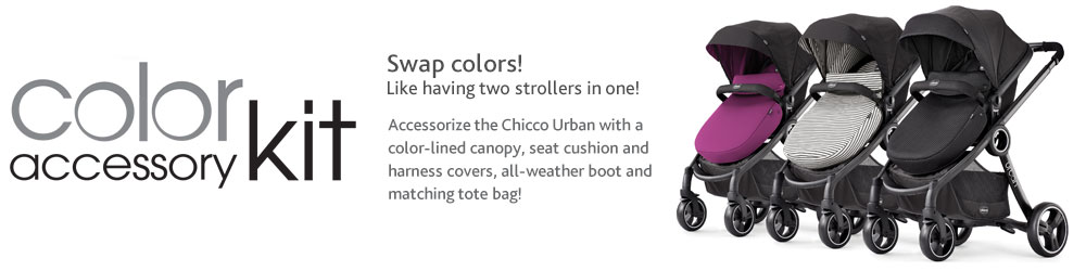 Swap colors! It's like having two strollers in one! Accessorize the Chicco Urban™ with a color-lined canopy, seat cushion and harness covers, all-weather boot and matching tote bag!t