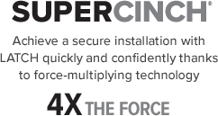 Chicco Fit4 SuperCinch provides a secure installation with LATCH force-multiplying technology