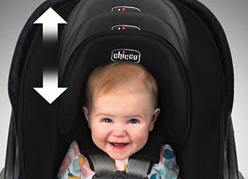 Infant car seat adjustable headrest system