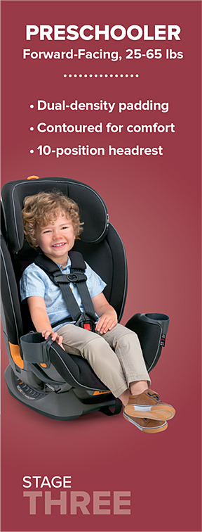 Chicco Fit4 Stage 3 is Forward-Facing for Preschoolers who are 25-65 lbs.
