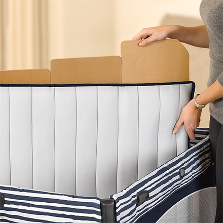 Removable floor boards make it easy to machine wash the zip-off mattress pad