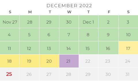 Chicco Holiday Shipping Calendar - Dec 2019