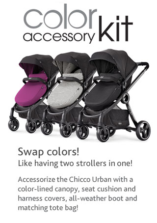Swap colors! It's like having two strollers in one! Accessorize the Chicco Urban™ with a color-lined canopy, seat cushion and harness covers, all-weather boot and matching tote bag!